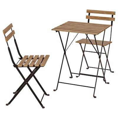 TÄRNÖ Miza+2 stola, zunanji, črna/svetlo rjavo luženo