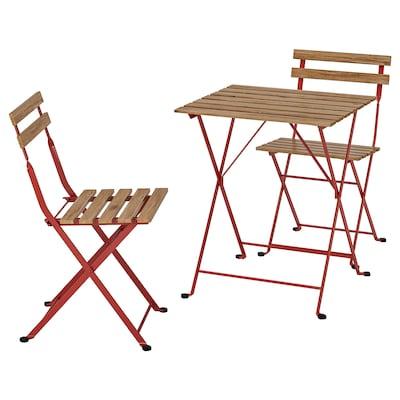 TÄRNÖ Miza+2 stola, zunanji, rdeča/svetlo rjavo luženo