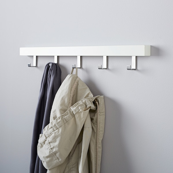 TJUSIG Stenski/vratni obešalnik, bela, 60 cm