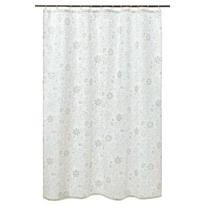 TYCKELN Zavesa za prho, bela/temno bež, 180x200 cm