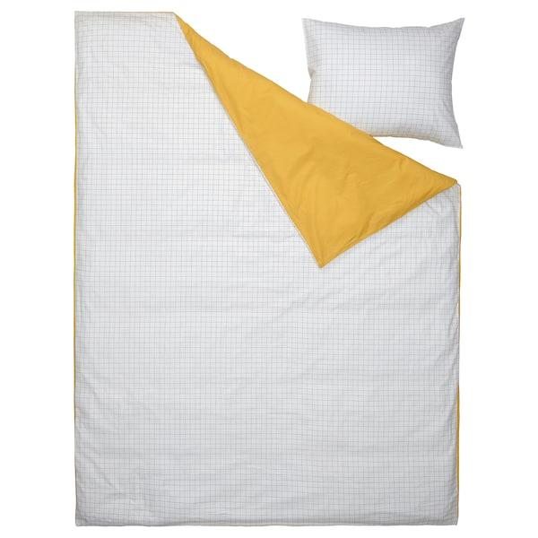 VÄNKRETS Prevleka za prešito odejo/vzglavnik, karirast vzorec bela/rumena, 150x200/50x60 cm