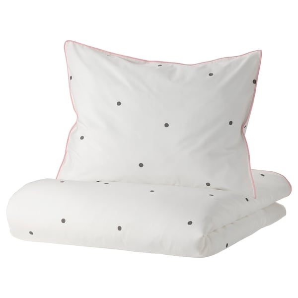 VÄNKRETS Prevleka za prešito odejo/vzglavnik, pikčast vzorec bela/roza, 150x200/50x60 cm