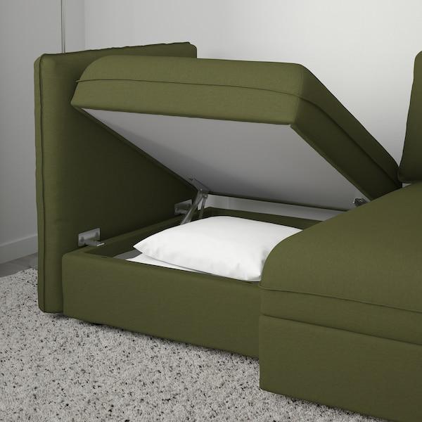 VALLENTUNA 2-seda modularna zofa z razteg zofo, in prostor za shranjevanje/Orrsta olivno zelena
