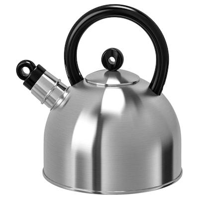 VATTENTÄT Kotliček za čaj, nerjaveče jeklo/črna, 2 l