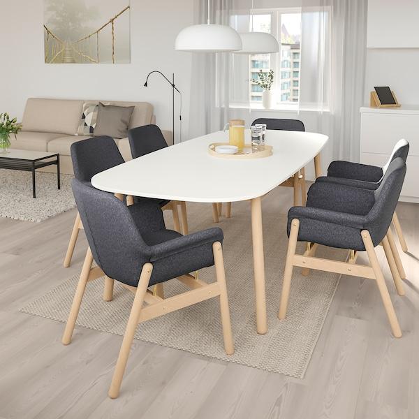VEDBO / VEDBO Miza in 6 stolov, bela/breza, 240x105 cm