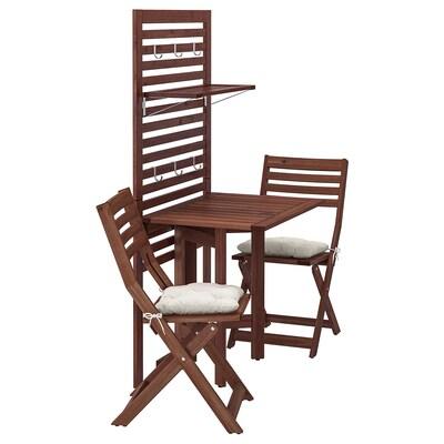 ÄPPLARÖ Nástenný panel+stôl+2 stoličky, hnedá morená/Kuddarna béžová