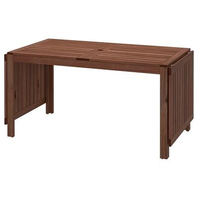 ÄPPLARÖ Skladací stôl vonkaj, hnedá morená, 140/200/260x78 cm