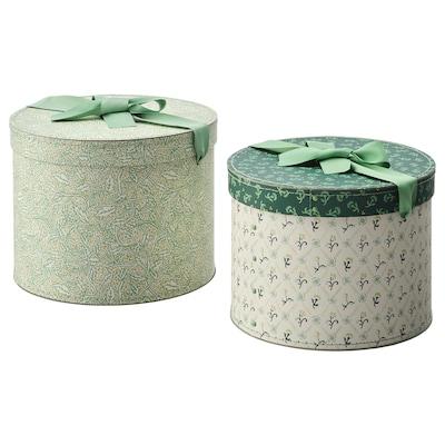 ANILINARE škatuľa, 2 ks okrúhly/zelená kvetinový vzor