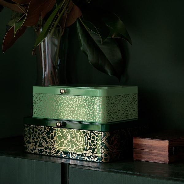 ANILINARE dekoratívna škatuľka, 2 ks zelená zlatá/kov