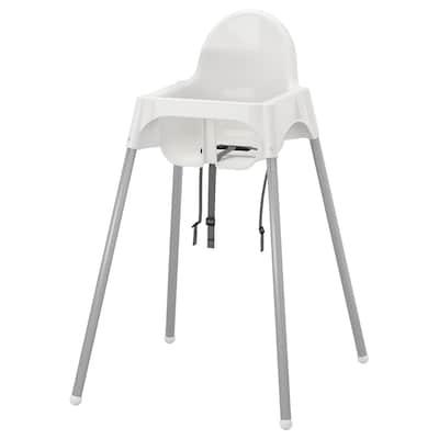 ANTILOP Vysoká stolička s pásom, biela/strieborná