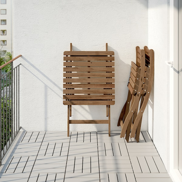 ASKHOLMEN stôl+2stoličky vonk sivohnedá morená/Ytterön modrá
