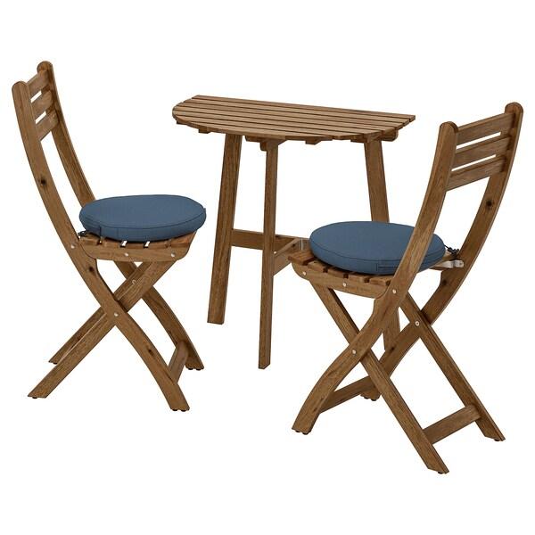 ASKHOLMEN nást. stôl + 2 sklad. stoličky, ext sivohnedá morená/Frösön/Duvholmen modrá
