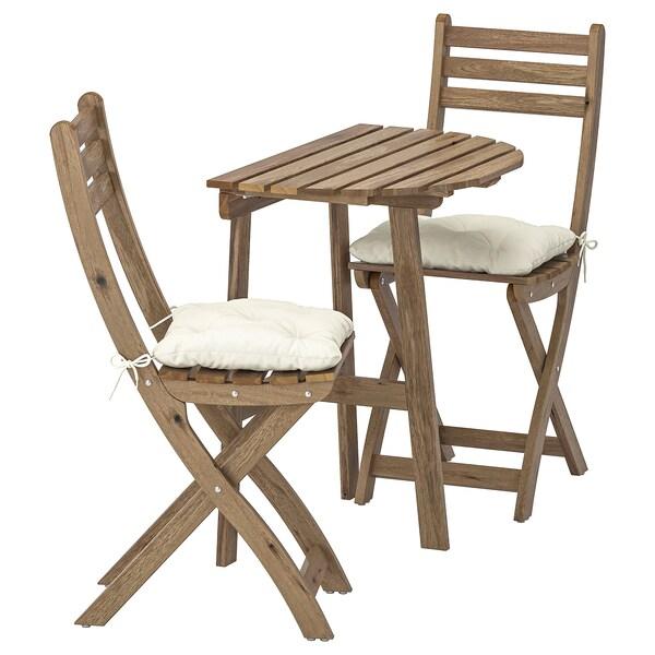 ASKHOLMEN nást. stôl + 2 sklad. stoličky, ext sivohnedá morená/Kuddarna béžová