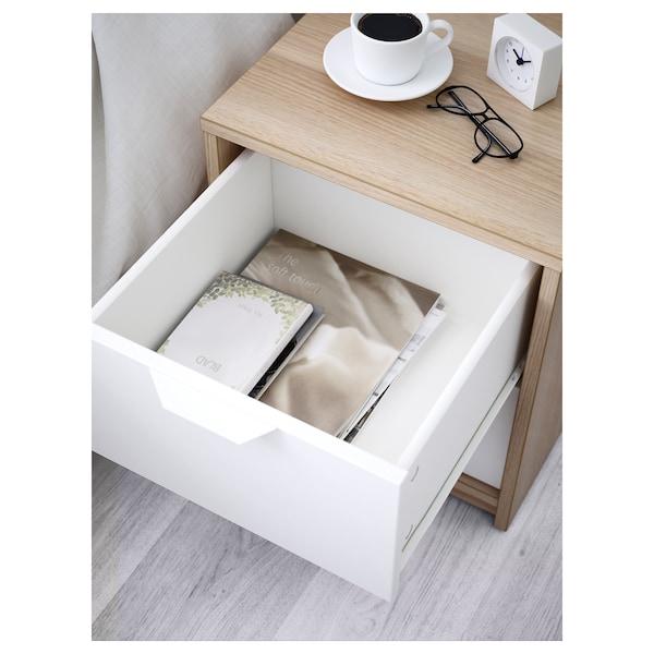 ASKVOLL komoda s 2 zásuvkami bielo morený dub vzor/biela 41 cm 41 cm 48 cm 32 cm 33 cm 4 kg