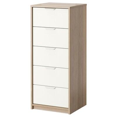 ASKVOLL Skrinka s 5 zásuvkami, bielo morený dub vzor/biela, 45x109 cm