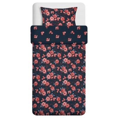 BACKVICKER Posteľné obliečky, tmavomodrá/kvet, 150x200/50x60 cm