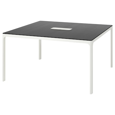 BEKANT konferenčný stôl jaseňová dyha čierny lak/biela 140 cm 140 cm 73 cm 100 kg