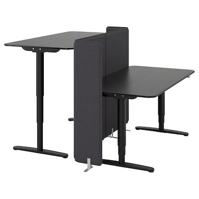 BEKANT nastaviteľný stôl/predel panel jaseňová dyha čierny lak/čierna 120 cm 160 cm 160 cm 65 cm 125 cm 70 kg