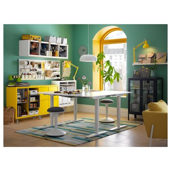 BEKANT Stôl nastaviteľná výška, biela, 160x80 cm