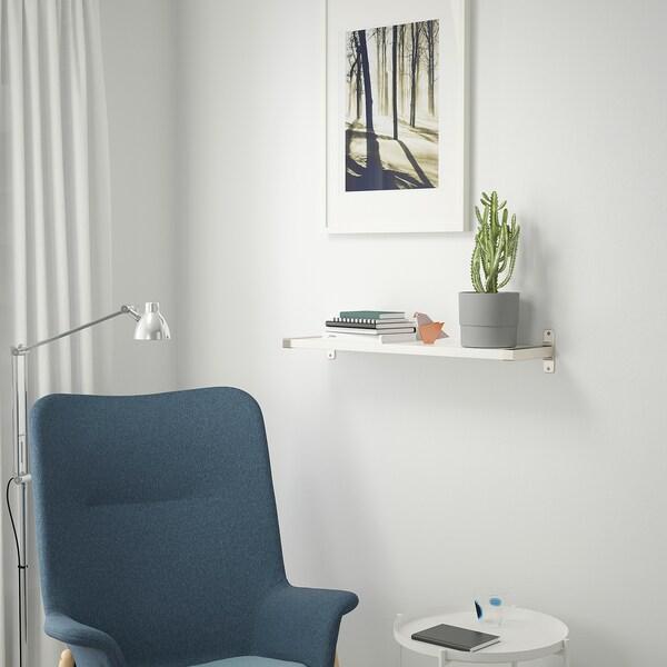 BERGSHULT / GRANHULT Nástenná polica, biela/poniklované, 80x20 cm