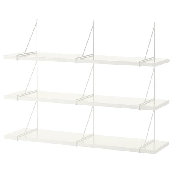 BERGSHULT / PERSHULT Nástenná policová kombinácia, biela/biela, 120x30 cm