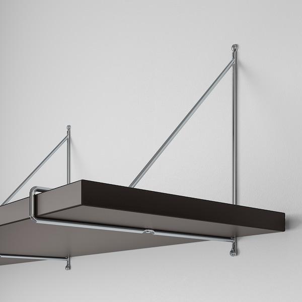 BERGSHULT / PERSHULT Nástenná polica čiernohnedá/pochrómované 120 cm 30 cm 2.5 cm 10 kg