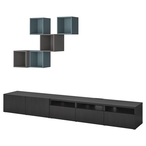 BESTÅ / EKET Úložný diel na TV, čiernohnedá/tmavosivá sivo-tyrkysová farba, 300x42x210 cm