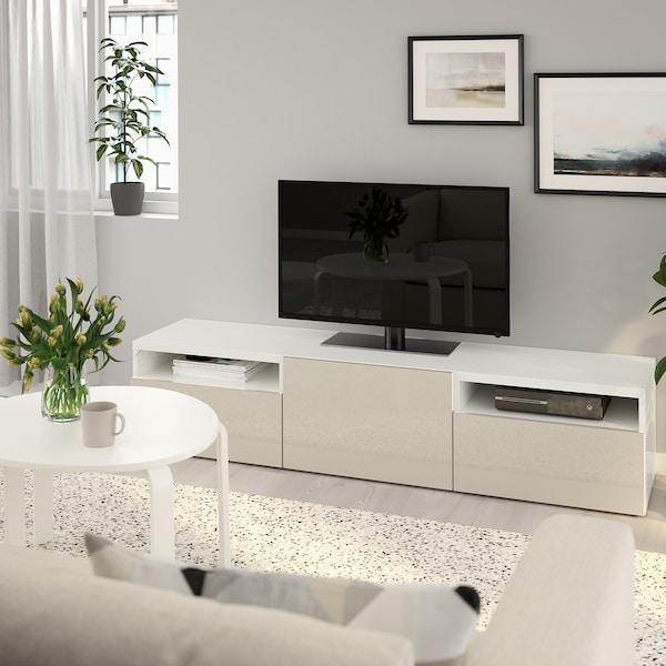 BESTÅ Skrinka na TV, biela/Selsviken vysokolesklá/béžová, 180x42x39 cm