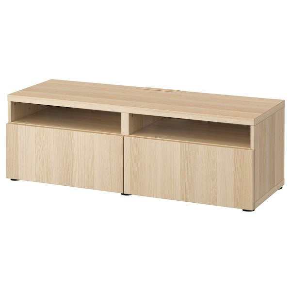BESTÅ Skrinka na TV so zásuvkami, bielo morený dub vzor/Lappviken bielo morený dub vzor, 120x42x39 cm