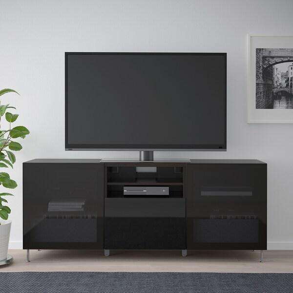 BESTÅ Skrinka na TV so zásuvkami, čiernohnedá/Selsviken/Stallarp dymové sklo, vysokolesklá/čierna, 180x42x74 cm