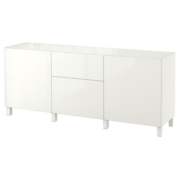BESTÅ úlož diel dvere/zásuvky biela/Selsviken lesk/biela 180 cm 40 cm 74 cm