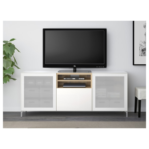 BESTÅ skrinka na TV vzhľad bielo moreného dubu/Selsviken mliečne sklo, vysokolesklá/biela 180 cm 40 cm 74 cm 50 kg