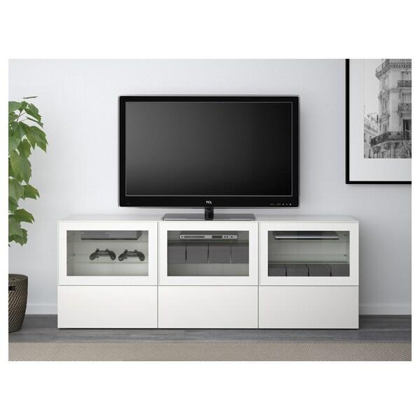 """BESTÅ skrinka na TV s dvierkami a zásuvk biela/Selsviken číre sklo vysokolesklá/biela 180 cm 40 cm 64 cm 70 """""""