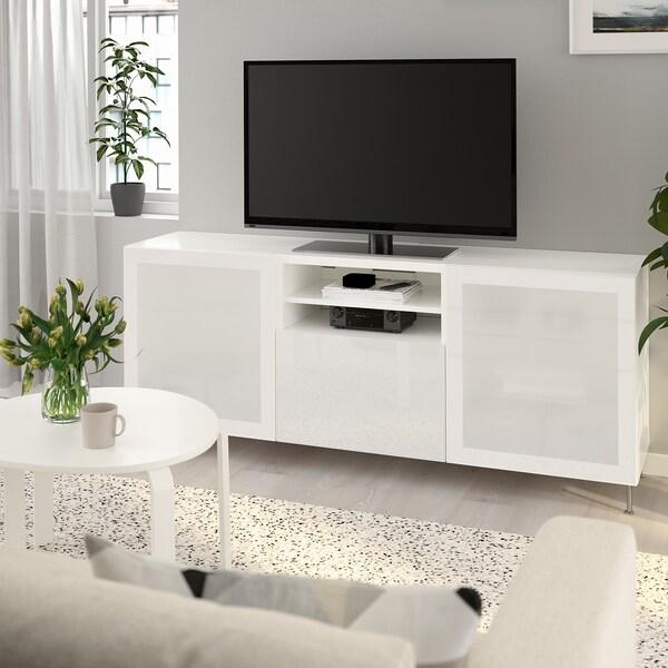 BESTÅ skrinka na TV so zásuvkami biela/Selsviken/Stallarp mliečne sklo, vysokolesklá/biela 180 cm 42 cm 74 cm 50 kg