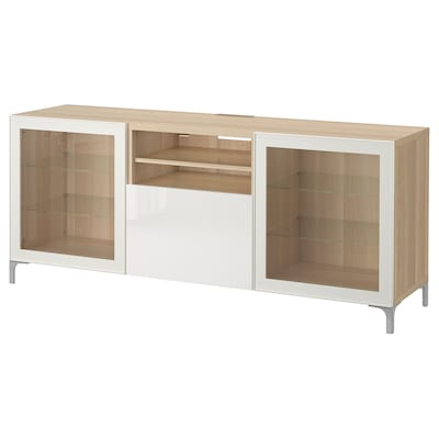 BESTÅ skrinka na TV so zásuvkami vzhľad bielo moreného dubu/Selsviken číre sklo vysokolesklá/biela 180 cm 40 cm 74 cm 50 kg