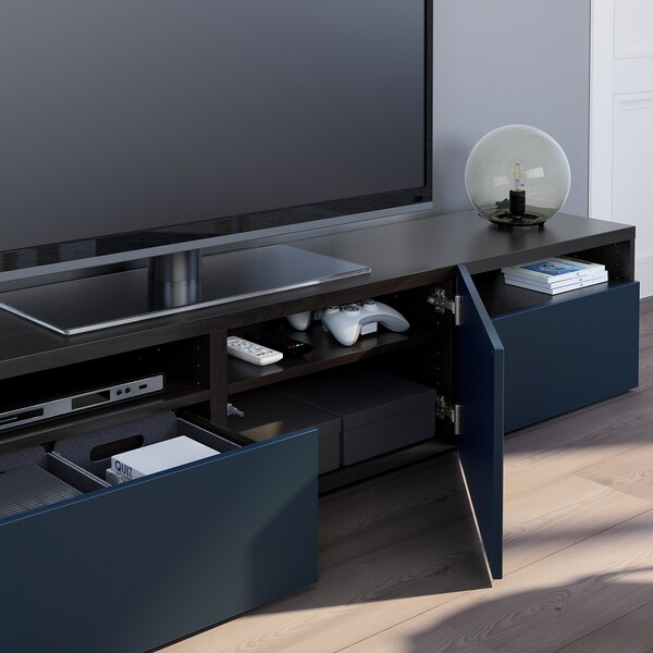 BESTÅ skrinka na TV čiernohnedá/Notviken modrá 180 cm 42 cm 39 cm 50 kg