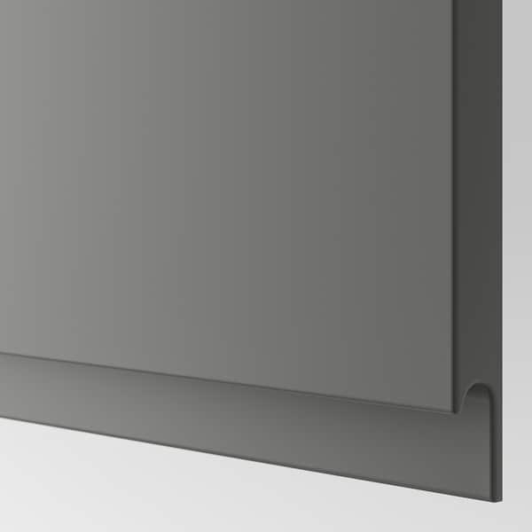 BESTÅ TV skrinka / sklenené dvierka, biela/Västerviken sivá, 240x42x129 cm