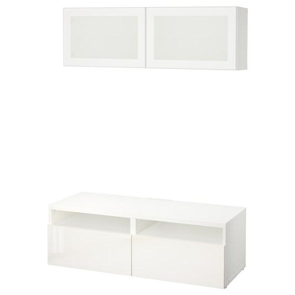 BESTÅ Úložné TV riešenie/sklené dvierka biela/Selsviken mliečne sklo, vysokolesklá/biela 120 cm 166 cm 20 cm 40 cm