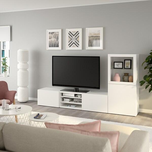 BESTÅ Úložné TV riešenie/sklené dvierka biela/Lappviken číre sklo, biela 240 cm 42 cm 129 cm
