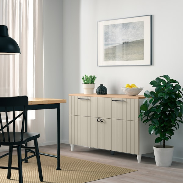 BESTÅ Úlož diel dvere/zásuvky, biela/Sutterviken/Kabbarp sivo-béžová, 120x42x76 cm