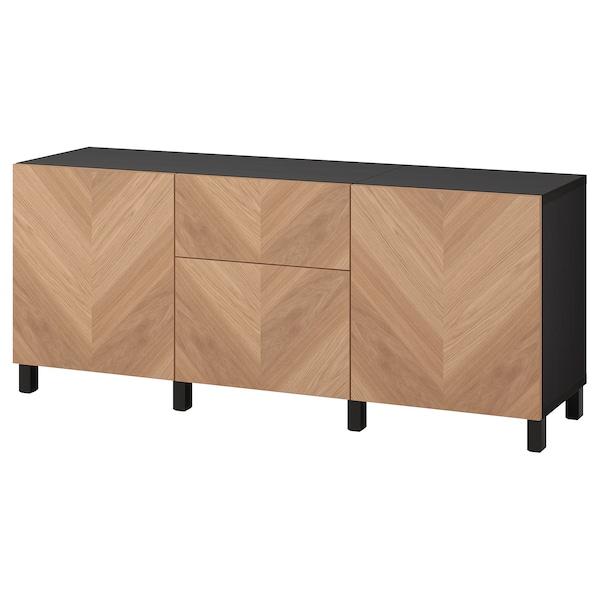BESTÅ Úložná zostava so zásuvkami, čiernohnedá/Hedeviken/Stubbarp dubová dyha, 180x42x74 cm