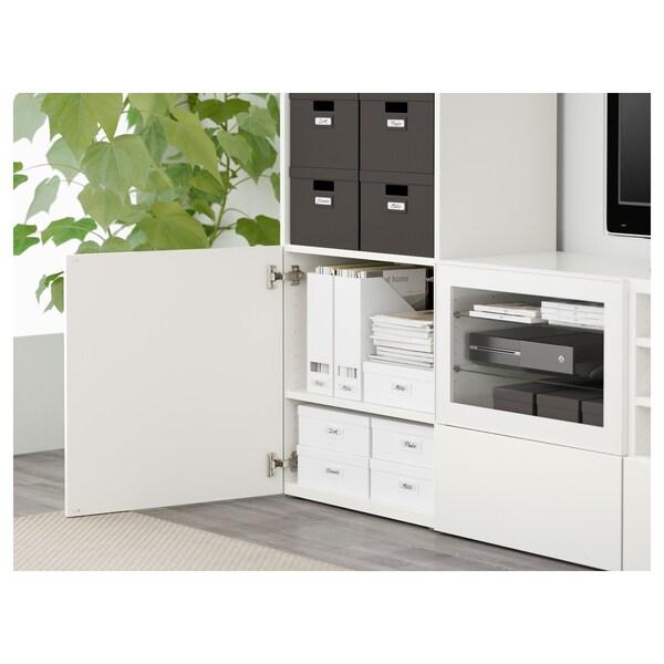 BESTÅ Úložné TV riešenie/sklené dvierka, biela/Selsviken číre sklo vysokolesklá/biela, 240x40x230 cm