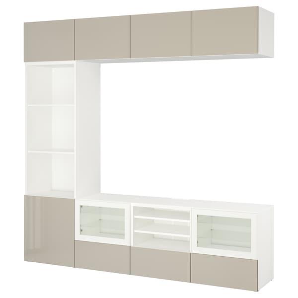 BESTÅ Úložné TV riešenie/sklené dvierka, biela/Selsviken lesk/béžové číre sklo, 240x40x230 cm