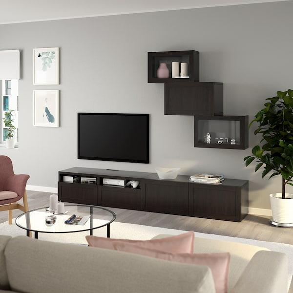 BESTÅ Úložné TV riešenie/sklené dvierka, čiernohnedá/Hanviken číre sklo, čiernohnedá, 240x42x190 cm