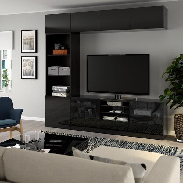 BESTÅ Úložné TV riešenie/sklené dvierka, čiernohnedá/Selsviken dymové sklo, vysokolesklá/čierna, 240x40x230 cm