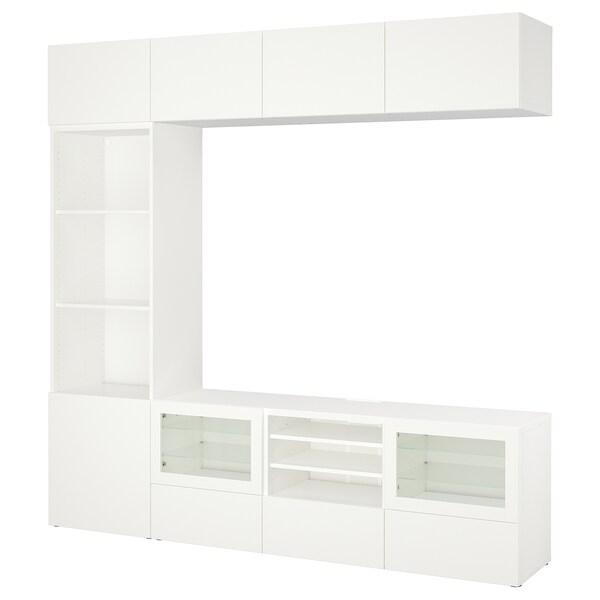BESTÅ Úložné TV riešenie/sklené dvierka, Lappviken/Sindvik číre sklo, biela, 240x40x230 cm