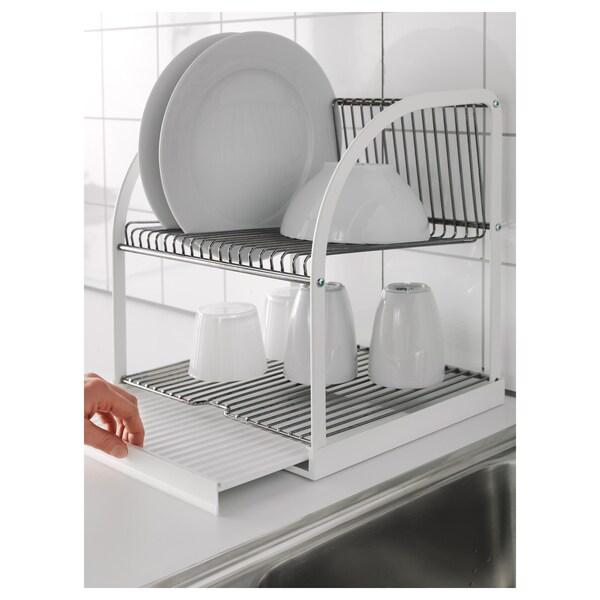 BESTÅENDE stojan na riad strieborná/biela 32 cm 29 cm 36 cm