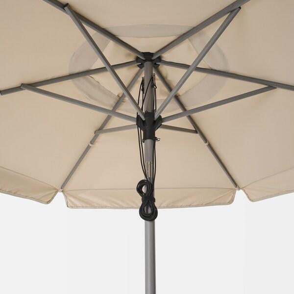 BETSÖ / VÅRHOLMEN slnečník s podstavcom vzor sivého dreva béžová/Huvön 250 g/m² 262 cm 300 cm 48 mm