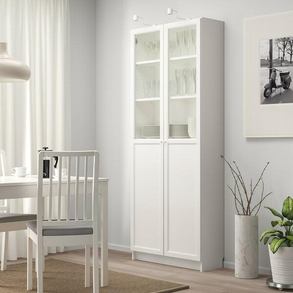 BILLY Knižnica s panel/sklen dvierkami, biela, 80x30x202 cm