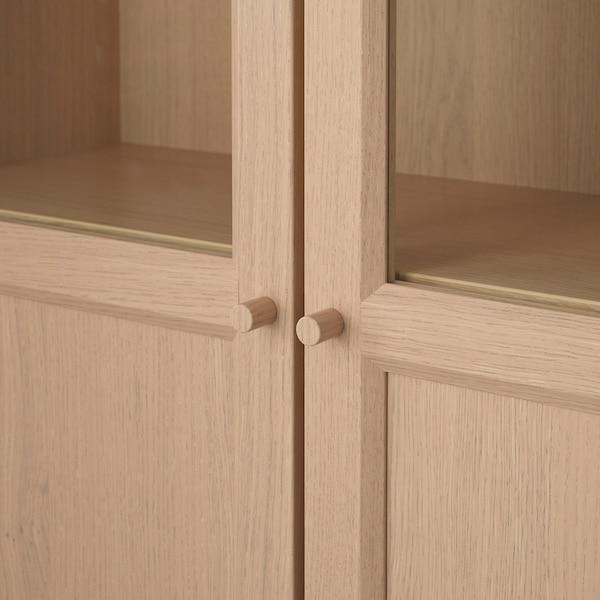 BILLY Knižnica s panel/sklen dvierkami, bielo morená dub dyha, 80x30x202 cm